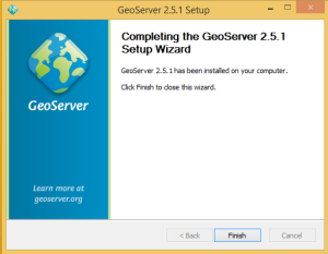 Instal Geoserver selesai